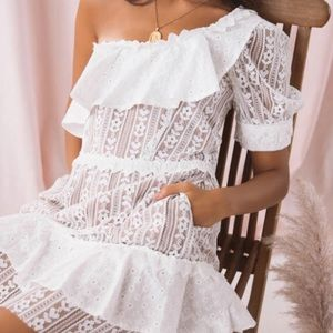 For Love & Lemons Lovebird Mini Dress White Lace